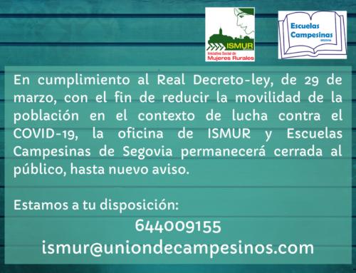 ISMUR  y Escuelas Campesinas de Segovia: medidas frente al COVID-19