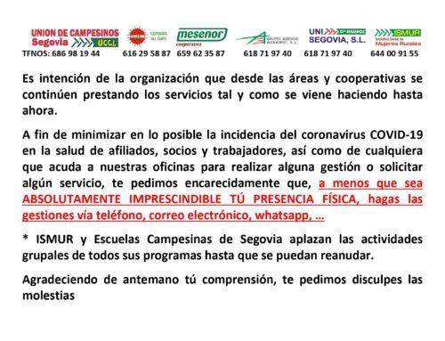 ISMUR, Escuelas Campesinas de Segovia y Unión de Campesinos de Segovia anuncian medidas preventivas por el COVID-19